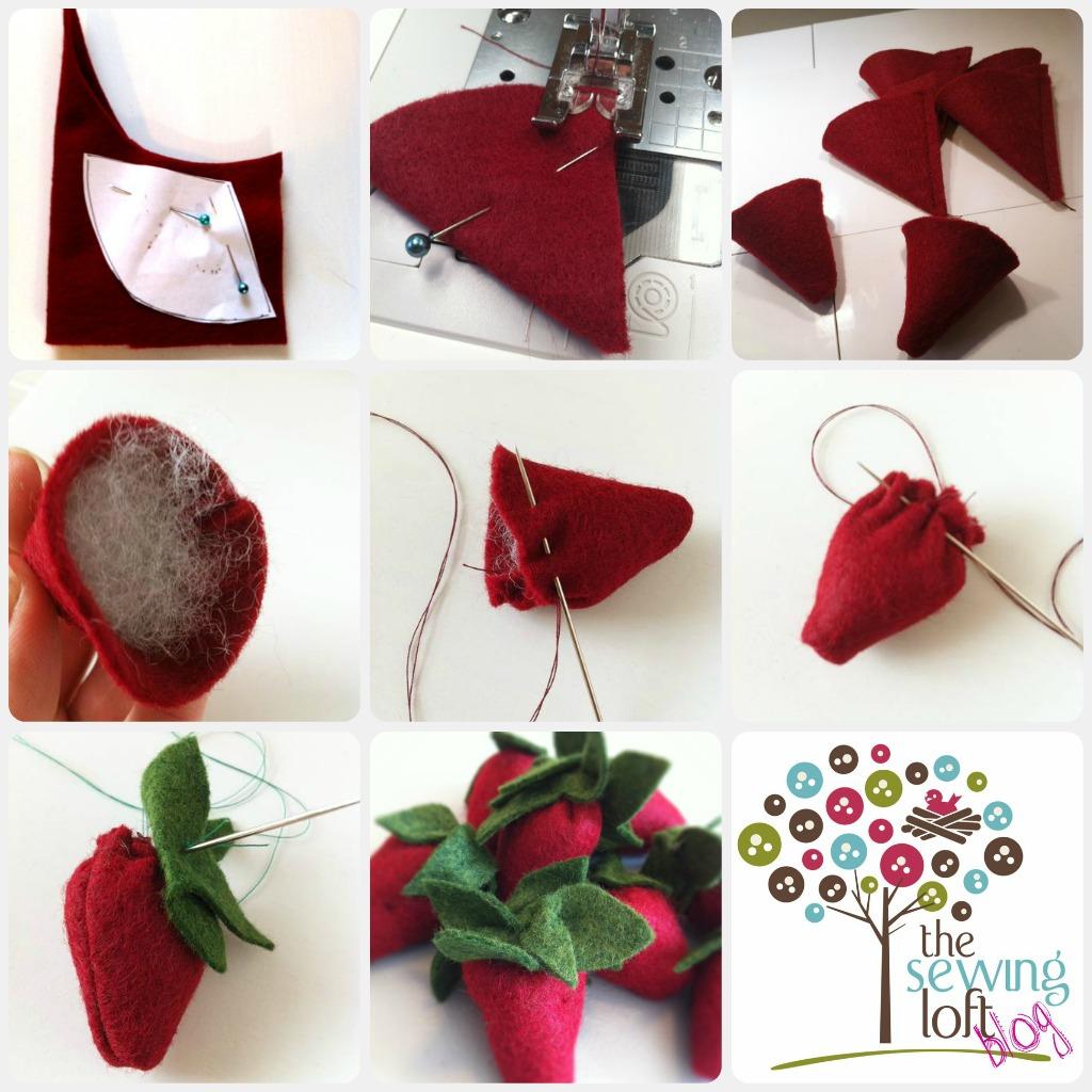 Easy Felt Strawberries - The Sewing Loft